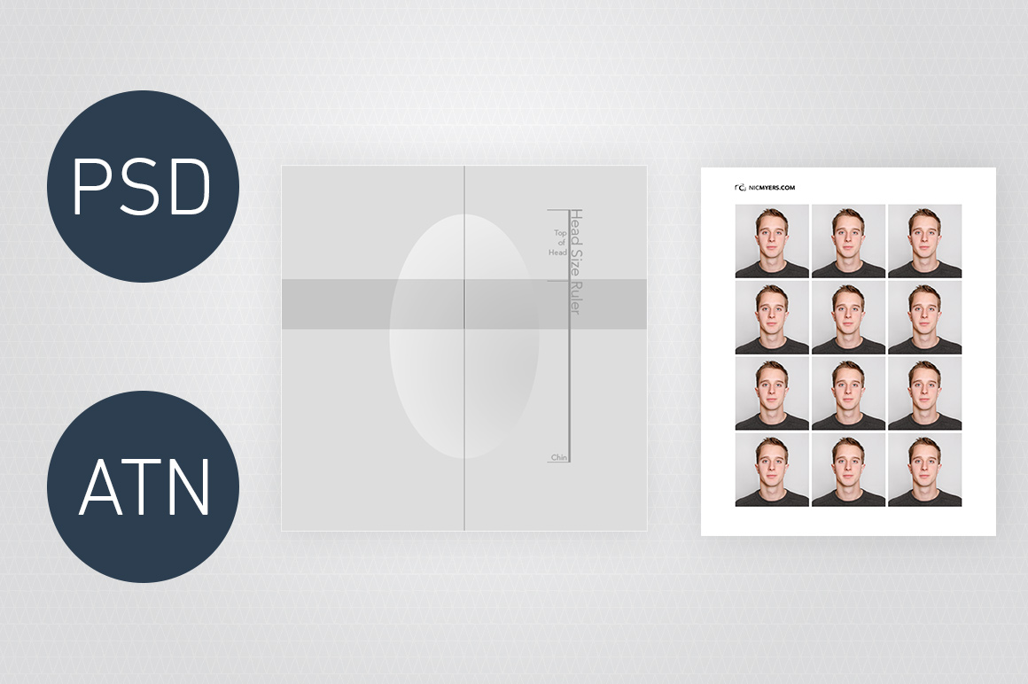 Includes Creates 2x2in Photos For US Passport Visa Applications Photoshop Template